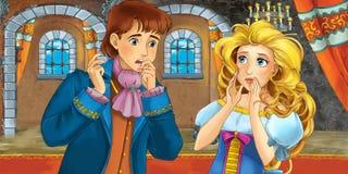 Cartoon fairy tale scene - with prince and princess Stock Image