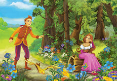 Cartoon fairy tale scene with prince and princess Stock Images