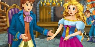Cartoon fairy tale scene - with prince and princess Stock Photos