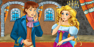 Cartoon fairy tale scene - with prince and princess Royalty Free Stock Images