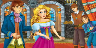 Cartoon fairy tale scene - with prince and princess - servants in the second stage Royalty Free Stock Photos