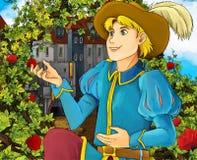 Cartoon fairy tale scene - prince proposing Stock Photos