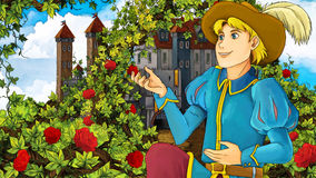 Cartoon fairy tale scene - prince proposing Royalty Free Stock Photography