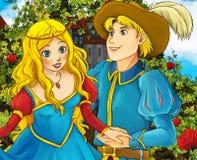 Cartoon fairy tale scene - prince proposing Stock Photo