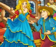 Cartoon fairy tale scene - prince proposing to a princess Stock Photo