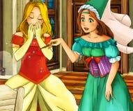 Cartoon fairy tale scene - princes near the baby Stock Photos