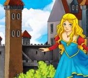Cartoon fairy tale scene - princes near the castle Stock Photography