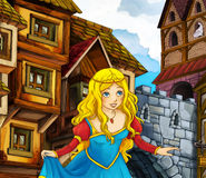 Cartoon fairy tale scene - princes in the town Royalty Free Stock Image