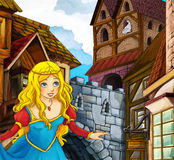 Cartoon fairy tale scene - princes in the town Stock Images