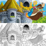 Cartoon fairy tale scene with princess flying on the broomstick with the witch - with coloring page. Happy and colorful traditional illustration for children Stock Photos