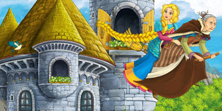 Cartoon fairy tale scene with princess flying on the broomstick with the witch. Happy and colorful traditional illustration for children Royalty Free Stock Images