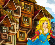 Cartoon fairy tale scene - princess in town Royalty Free Stock Photos