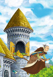 Cartoon fairy tale scene with the witch flying on the broomstick - beautiful manga girl Royalty Free Stock Photo