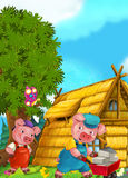 Cartoon Fairy Tale Scene With Pigs Doing Different Things Stock Photography