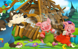 Cartoon fairy tale scene with wolf blowing off wooden house and running pigs Royalty Free Stock Image