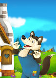 Cartoon fairy tale scene with wolf Stock Images