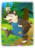 Cartoon fairy tale scene with wolf Royalty Free Stock Photos