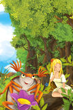 Cartoon fairy tale scene with a young little girl on a leaf and happy frog on shore Royalty Free Stock Image
