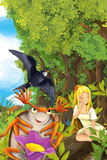 Cartoon fairy tale scene with a young little girl on a leaf and happy frog on shore Stock Images