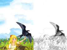 Cartoon fairy tale scene with a young little girl on the meadow waving to the cuckoo bird - with coloring page Stock Photos