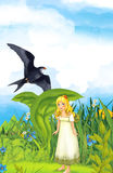 Cartoon fairy tale scene with a young little girl under the leaf on the meadow vector illustration