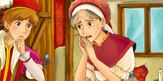 Cartoon fairy tale scene - young man meeting older woman Royalty Free Stock Photo
