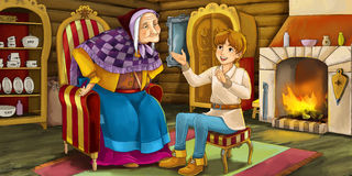Cartoon fairy tale scene - young man speaking to older woman. Beautiful and colorful illustration for the children Royalty Free Stock Image