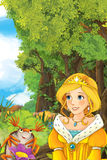 Cartoon fairy tale scene with a young princess in the forest talking. Beautiful colorful illustration caricature for the children for different usage stock illustration