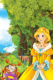 Cartoon fairy tale scene with a young princess in the forest talking. Beautiful colorful illustration caricature for the children for different usage royalty free illustration