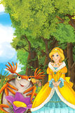 Cartoon fairy tale scene with a young princess in the forest talking. Beautiful colorful illustration caricature for the children for different usage vector illustration