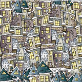 Cartoon fairy tale winter houses pattern. Cartoon vector fairy tale winter drawing houses seamless pattern Royalty Free Stock Images