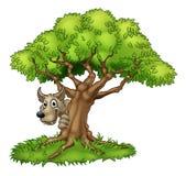 Cartoon Fairytale Big Bad Wolf and Tree Stock Photos