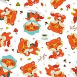 cartoon fall fox pattern vector illustration