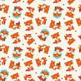 Cartoon fall fox seamless pattern royalty free illustration
