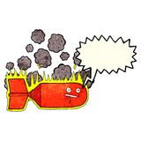 cartoon falling bomb with speech bubble Royalty Free Stock Images