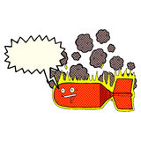 cartoon falling bomb with speech bubble Stock Images