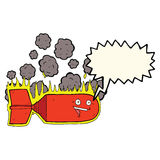 cartoon falling bomb with speech bubble Royalty Free Stock Photography