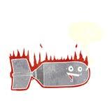 cartoon falling bomb with speech bubble Stock Image