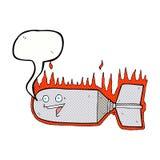 cartoon falling bomb with speech bubble Stock Photo