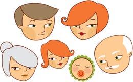 Cartoon family. Portrait. See more cartoons in my portfolio Royalty Free Stock Image