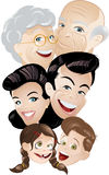 Cartoon Family. All generations of a family - children, adults and seniors Stock Photo