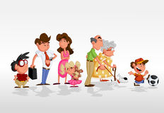 Cartoon family. Colorful cute happy cartoon family Stock Photo