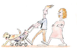 Cartoon Family. Humorous illustration of a family out for a walk Stock Photos