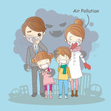 Cartoon family with air pollution. Great for your health Stock Images