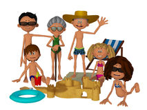 Cartoon family on the beach Stock Photo