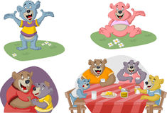 Cartoon family of bears Stock Images