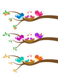 Cartoon family of birds on a tree Royalty Free Stock Photos