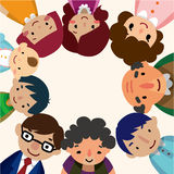 Cartoon family card. Drawing Royalty Free Stock Photography