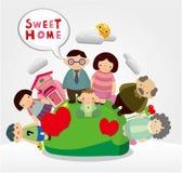 Cartoon family card Stock Image
