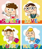 Cartoon family card Royalty Free Stock Image